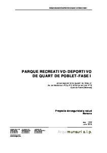PARQUE RECREATIVO-DEPORTIVO DE QUART DE POBLET-FASE I
