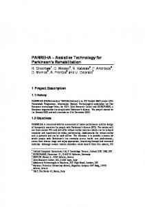 PARREHA Assistive Technology for Parkinson s Rehabilitation