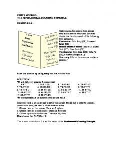 PART 1 MODULE 4 THE FUNDAMENTAL COUNTING PRINCIPLE EXAMPLE 1.4.1