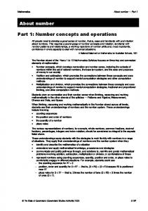 Part 1: Number concepts and operations