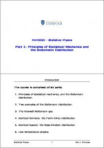 Part 1: Principles of Statistical Mechanics and the Boltzmann Distribution