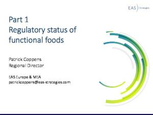 Part 1 Regulatory status of functional foods