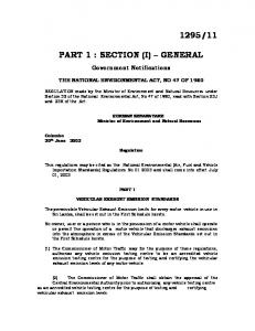 PART 1 : SECTION (I) GENERAL