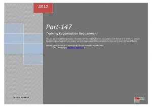 Part-147 Training Organisation Requirement