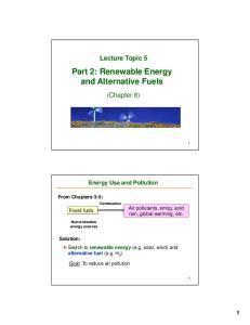 Part 2: Renewable Energy and Alternative Fuels