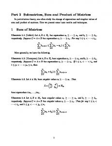 Part 2 Submatrices, Sum and Product of Matrices