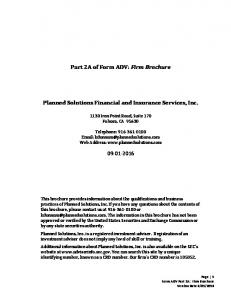 Part 2A of Form ADV: Firm Brochure. Planned Solutions Financial and Insurance Services, Inc