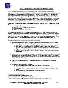 PART 3: WPSHC ETHICAL DECISION MAKING TOOLS