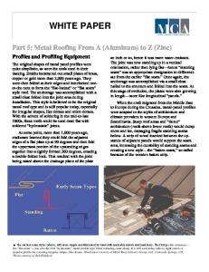 Part 5: Metal Roofing From A (Aluminum) to Z (Zinc)