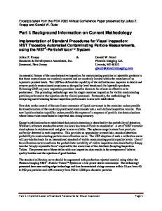Part I: Background Information on Current Methodology