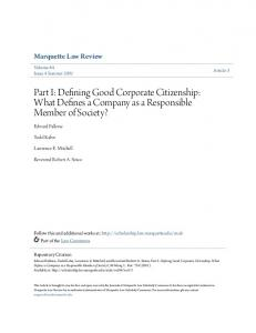 Part I: Defining Good Corporate Citizenship: What Defines a Company as a Responsible Member of Society?