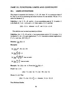 PART III. FUNCTIONS: LIMITS AND CONTINUITY