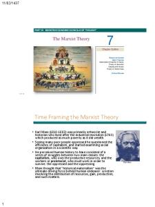 PART III MODERN ECONOMIC SCHOOLS OF THOUGHT. The Marxist Theory. Time Framing the Marxist Theory
