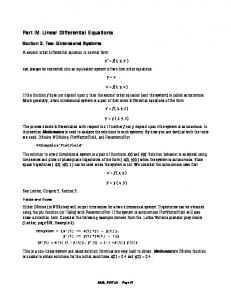 Part IV. Linear Differential Equations