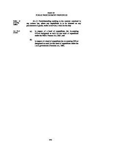 PART IV PUBLIC PROCUREMENT PRINCIPLES