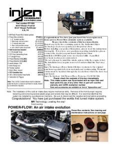 Part number PF Nissan Frontier Nissan Pathfinder 4.0L V6