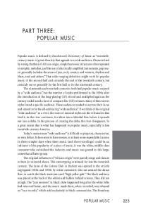 Part three: Popular Music