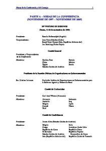 PARTE A MESAS DE LA CONFERENCIA (NOVIEMBRE DE 1997 NOVIEMBRE DE 2005)