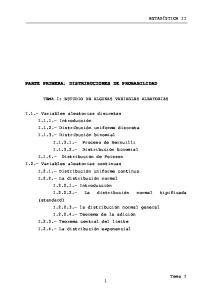 PARTE PRIMERA: DISTRIBUCIONES DE PROBABILIDAD