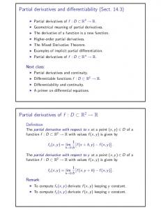 Partial derivatives and differentiability (Sect. 14.3)