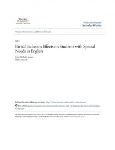 Partial Inclusion Effects on Students with Special Needs in English