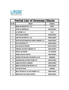 Partial List of Overseas Clients