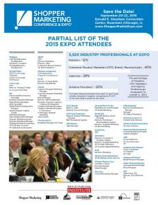 PARTIAL LIST OF THE 2015 EXPO ATTENDEES