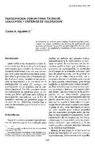PARTICIPACION COMUNITARIA EN SALUD. CONCEPTOS Y CRITERIOS DE VALORACION. Carlos A. Agudelo C.*