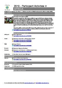 Participant Activities in AFRICA