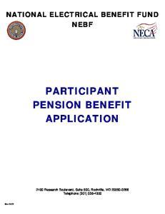 PARTICIPANT PENSION BENEFIT APPLICATION