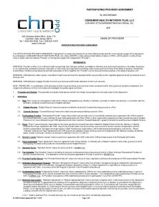 PARTICIPATING PROVIDER AGREEMENT