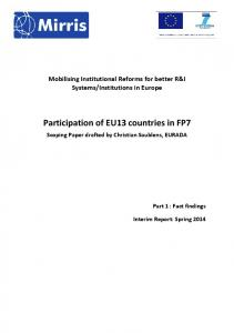 Participation of EU13 countries in FP7