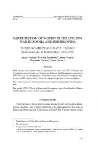 PARTICIPATION OF WOMEN IN THE WAR IN BOSNIA AND HERZEGOVINA