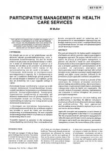 PARTICIPATIVE MANAGEMENT IN HEALTH CARE SERVICES