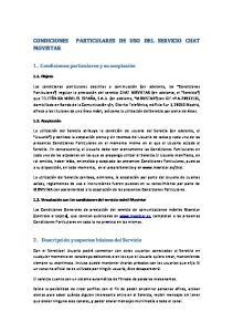 PARTICULARES DE USO DEL SERVICIO CHAT