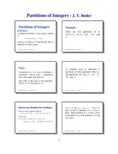 Partitions of Integers - J. T. Butler 1