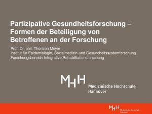 Partizipative Gesundheitsforschung Formen der Beteiligung von Betroffenen an der Forschung