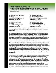 PARTNER CAUCUS on FIRE SUPPRESSION FUNDING SOLUTIONS