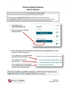 Partners Patient Gateway How to Sign Up