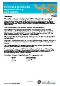 Partnership checklist for registered training organisations
