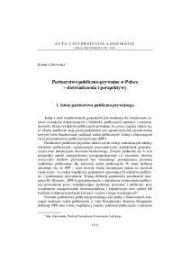 Partnerstwo publiczno-prywatne w Polsce do wiadczenia i perspektywy