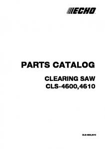 PARTS CATALOG CLEARING SAW CLS-4600,4610 CLS-4600,4610