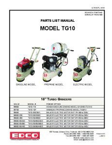 PARTS LIST MANUAL MODEL TG10 GASOLINE MODEL PROPANE MODEL ELECTRIC MODEL