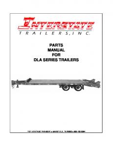 PARTS MANUAL FOR DLA SERIES TRAILERS