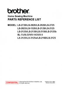 PARTS REFERENCE LIST. Home Sewing Machine