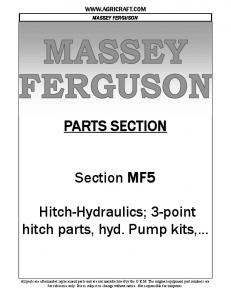 PARTS SECTION. Section MF5. Hitch-Hydraulics; 3-point hitch parts, hyd. Pump kits,
