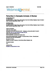 Parturition In Domestic Animals: A Review