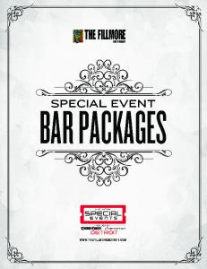 PARTY PACKAGE 30 PER PERSON* 4 HOUR BAR $ 6 per person* for each additional hour LIQUOR