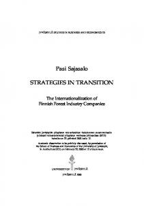 Pasi Sajasalo STRATEGIES IN TRANSITION
