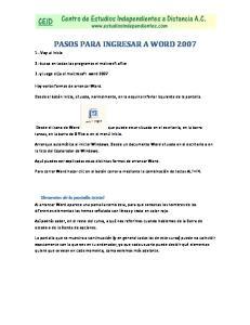 PASOS PARA INGRESAR A WORD 2007